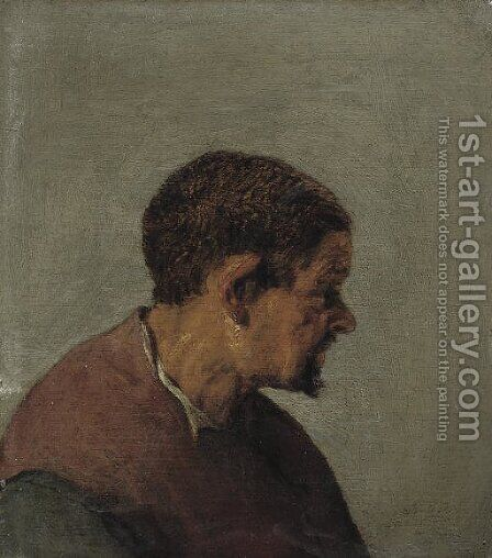 Head of a man in profile by (after) Adriaen Jansz. Van Ostade - Reproduction Oil Painting
