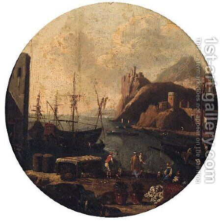 A Mediterranean port with figures on a quay, a clifftop fort beyond by (after) Adriaen Van Der Cabel - Reproduction Oil Painting