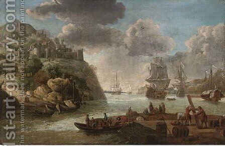 A squadron of the Royal Navy in a Mediterranean harbour by (after) Adriaen Van Diest - Reproduction Oil Painting