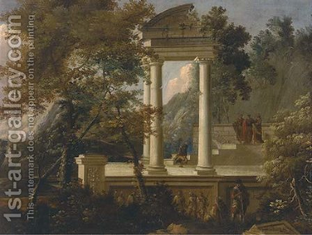 An extensive mountainous wooded landscape with figures conversing amongst classical ruins by (after) Adriaen Van Diest - Reproduction Oil Painting