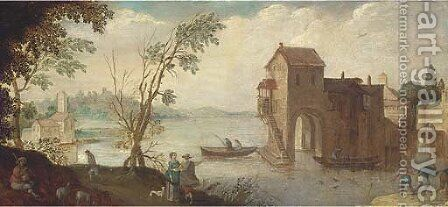 A wooded river landscape with a boathouse and fishermen by (after) Adriaan Van Stalbemt - Reproduction Oil Painting