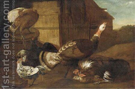 A turkey, cocks and chickens in a farmyard by (after) Adriaen Van Utrecht - Reproduction Oil Painting