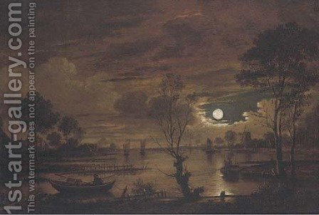 A moonlit river landscape with fisherman by (after) Aert Van Der Neer - Reproduction Oil Painting