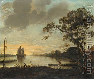 A River Landscape at Dusk with a Fisherman and a Rowing Boat, sailing boats beyond by (after) Aert Van Der Neer - Reproduction Oil Painting
