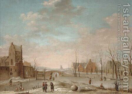 A winter landscape with figures playing kolf on a frozen river, a windmill and walled town beyond by (after) Aert Van Der Neer - Reproduction Oil Painting