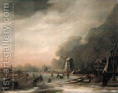 A Winter Landscape with Skaters and Kolf Players by (after) Aert Van Der Neer - Reproduction Oil Painting