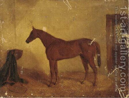 A chestnut racehorse in a stable by (after) Albert Clark - Reproduction Oil Painting