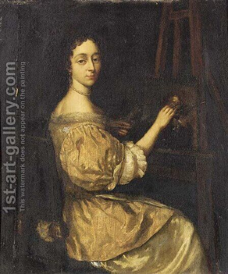 Portrait of a lady painting at an easel by (after) Aleijda Wolfsen - Reproduction Oil Painting
