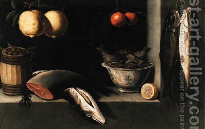 Lemons, oranges, a barrel of olives, salmon and a bowl of fish in a niche by (after) Alejandro De Loarte - Reproduction Oil Painting