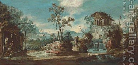 A river landscape with a hermit monk and travellers by (after) Alessandro Magnasco - Reproduction Oil Painting