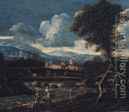 A river landscape with peasants on a track, a village and mountains beyond by (after) Alessandro Magnasco - Reproduction Oil Painting
