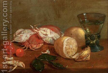 A 'roemer' of white wine, crabs, cherries and lemons on a wooden ledge by (after) Alexander Adriaenssen - Reproduction Oil Painting
