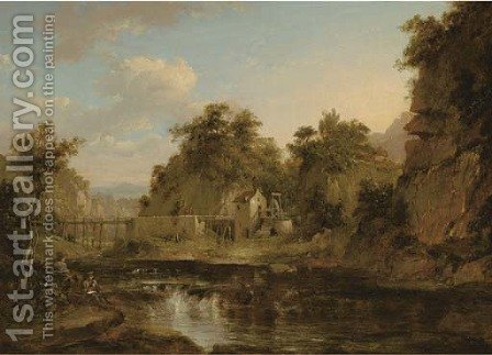 A river landscape with a watermill and an aquaduct, an artist sketching in the foreground by (after) Alexander Nasmyth - Reproduction Oil Painting