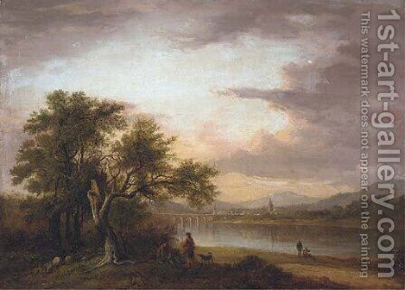 View of Perth from across the banks of the River Tay by (after) Alexander Nasmyth - Reproduction Oil Painting