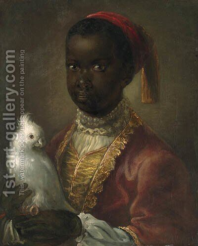 Portrait of a Blackamoor by (after) Jean-Alexis Grimou - Reproduction Oil Painting