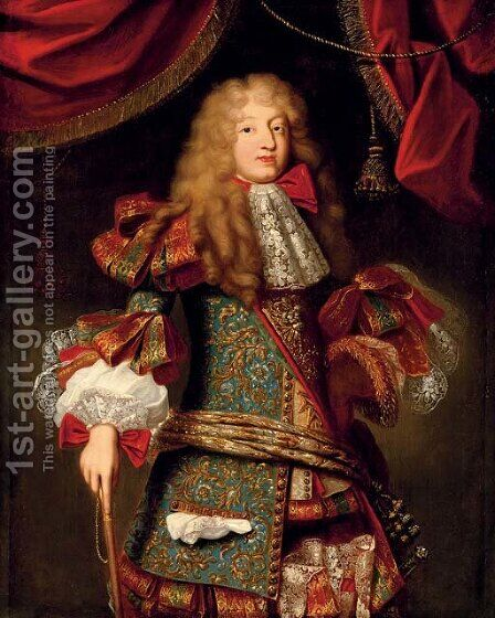 Portrait of man, believed to be The Grand Dauphin (1661-1711) by (after) Alexis-Simon Belle - Reproduction Oil Painting