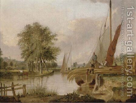 The old river at Thorpe by (after) Alfred Stannard - Reproduction Oil Painting