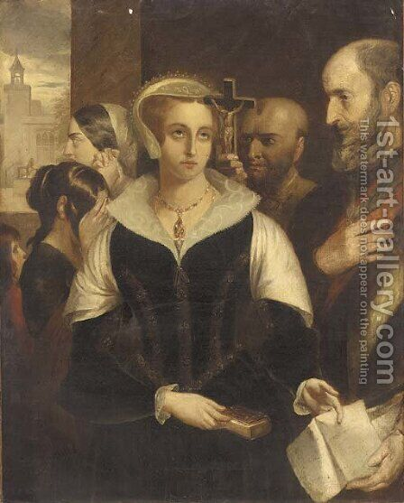 Mary Queen of Scots accepting her death warrant at Fotheringay Castle by (after) Alfred Elmore - Reproduction Oil Painting