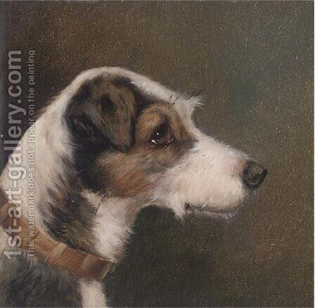 Portrait of a terrier by (after) Alfred Wheeler - Reproduction Oil Painting