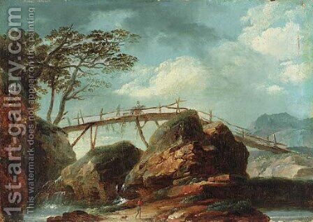 A river landscape with figures on a bridge by (after) Allaert Van Everdingen - Reproduction Oil Painting