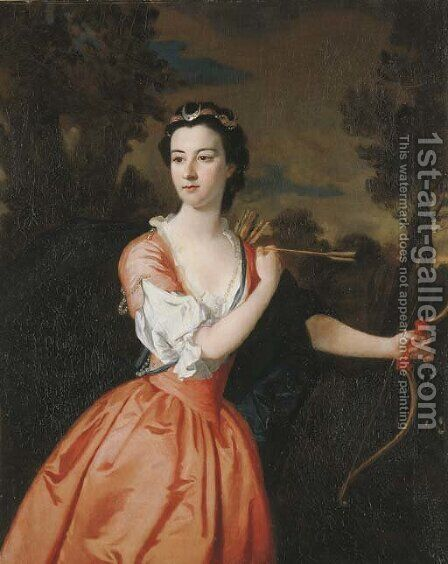 Portrait of Lady Frances Montague (d. 1788), as Diana by (after) Allan Ramsay - Reproduction Oil Painting