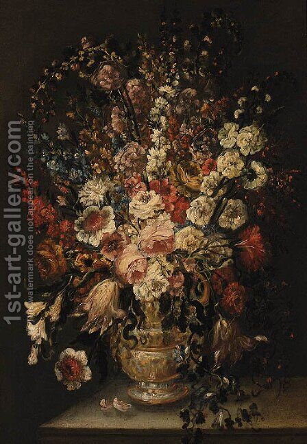 Roses, Carnations, Tulips, and other Flowers in a sculpted Urn on a Ledge by (after) Andrea Scaccati - Reproduction Oil Painting