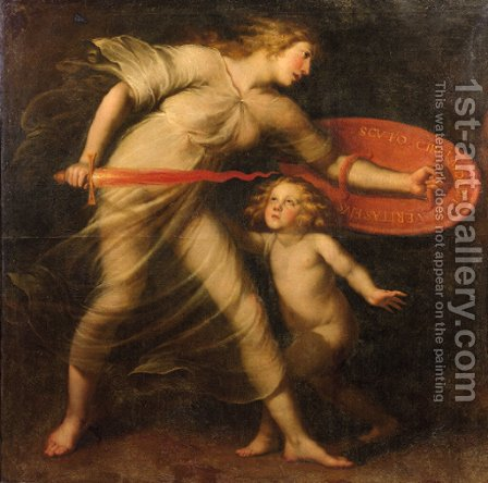 Truth will protect you with his shield by (after) Andries Cornelis Lens - Reproduction Oil Painting