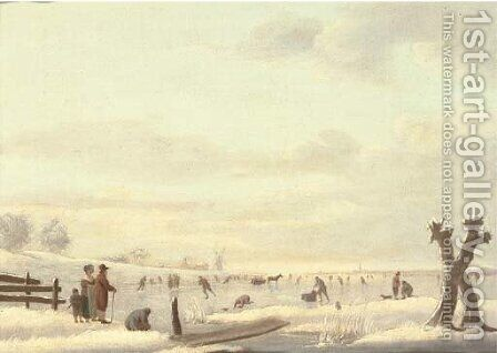 A winter landscape with skaters on a frozen river, a windmill and a town beyond by (after) Andries Vermeulen - Reproduction Oil Painting