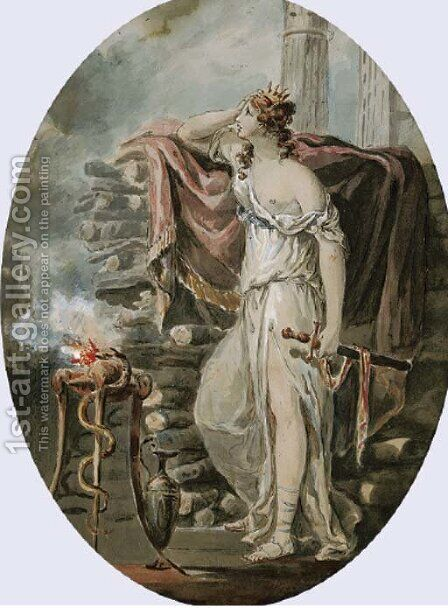 Dido, Queen of Carthage, mourning the departure of Aeneas by (after) Kauffmann, Angelica - Reproduction Oil Painting