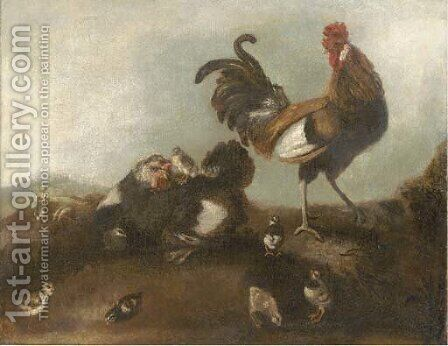 A chicken, cockerel and chicks by (after) Angelo Maria Crivelli, Il Crivellone - Reproduction Oil Painting