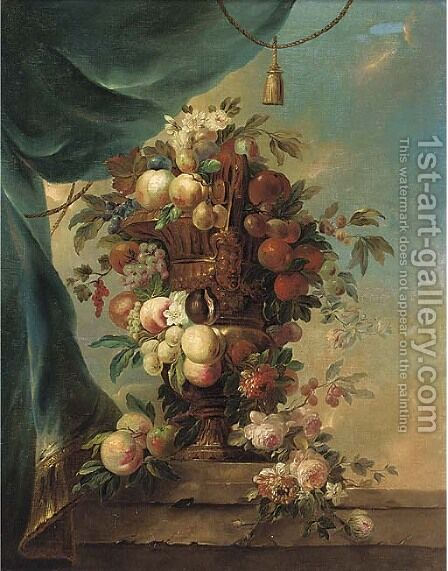 Peaches, plums, grapes, cherries and roses in a gilt urn on a ledge by (after) Anne Vallayer-Coster - Reproduction Oil Painting