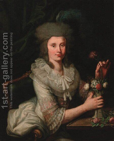 Portrait of a lady by (after) Anne Vallayer-Coster - Reproduction Oil Painting