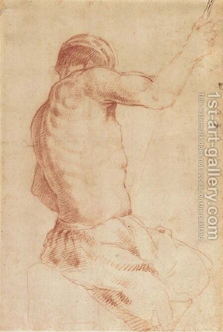 A seated man holding a staff, seen from behind by (after) Annibale Carracci - Reproduction Oil Painting