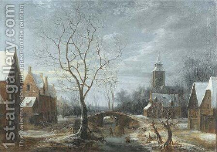 A winter landscape with figures on a frozen waterway in a village by (after) Anthonie Beerstraten - Reproduction Oil Painting