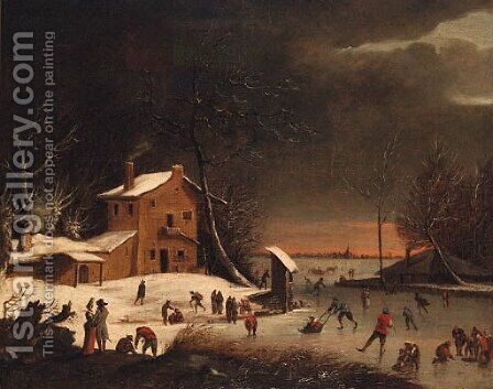 A winter landscape with skaters on a frozen waterway near a farmhouse by (after) Anthonie Beerstraten - Reproduction Oil Painting