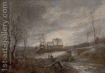 A wooded river winter landscape with figures on a track and men fishing on a frozen lake by (after) Anthonie Beerstraten - Reproduction Oil Painting