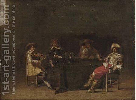 A guardroom interior with men making music and drinking by (after) Anthonie Palamedesz. (Stevaerts, Stevens) - Reproduction Oil Painting