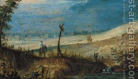 A landscape with soldiers resting by a path and two cavaliers in arms on their mounts, a village beyond by (after) Antoine Mirou - Reproduction Oil Painting