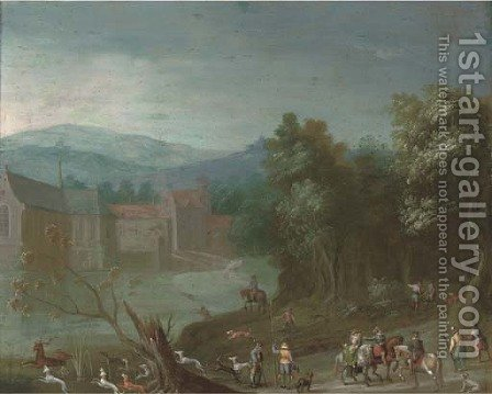 A wooded river landscape with a stag hunt, a castle beyond by (after) Anton Mirou - Reproduction Oil Painting