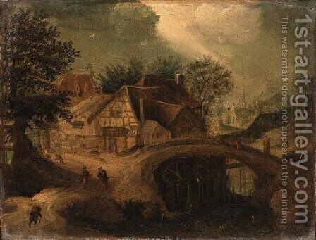 A Townscape with Travellers near a Bridge by (after) Anton Mirou - Reproduction Oil Painting