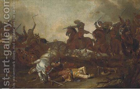 A cavalry skirmish 2 by (after) Antonio Calza - Reproduction Oil Painting