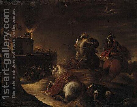 Christians and Turks before a beseiged castle by (after) Antonio Calza - Reproduction Oil Painting
