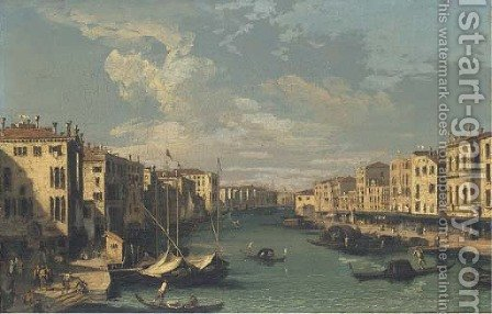 The Grand Canal, looking south-west from the Rialto Bridge to the Palazzo Foscari by (after) (Giovanni Antonio Canal) Canaletto - Reproduction Oil Painting