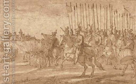 A general commanding a squadron of cavalry in the siege of a hill town by (after) Antonio Tempesta - Reproduction Oil Painting