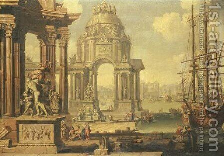 A capriccio of a Mediterranean harbour by (after) Antonio Visentini - Reproduction Oil Painting