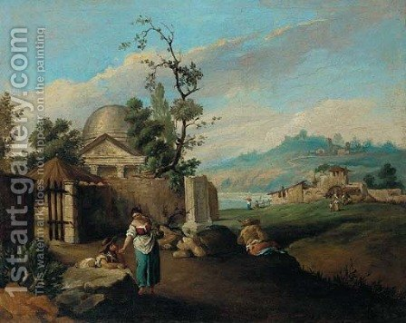 An Italianate river landscape with peasants before a temple by (after) Antonio Visentini - Reproduction Oil Painting