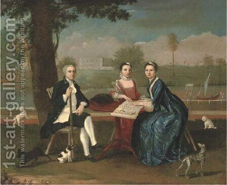 Group portrait of a naval officer and two ladies by (after) Arthur Devis - Reproduction Oil Painting