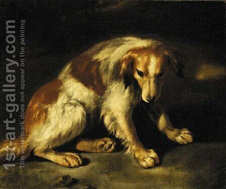 A spaniel seated in a landscape by (after) Baldassare De Caro - Reproduction Oil Painting