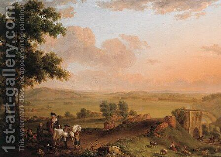 A hunting party and beggars on a road, an extensive valley beyond by (after) Balthasar Paul Ommeganck - Reproduction Oil Painting