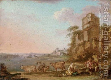 An Italianate river landscape with figures making music, cattle beyond by (after) Balthasar-Paul Ommeganck - Reproduction Oil Painting